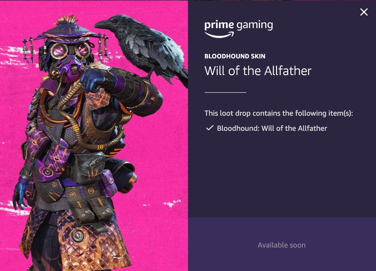 Bloodhound Will of the Allfather Twitch Prime Gaming skin