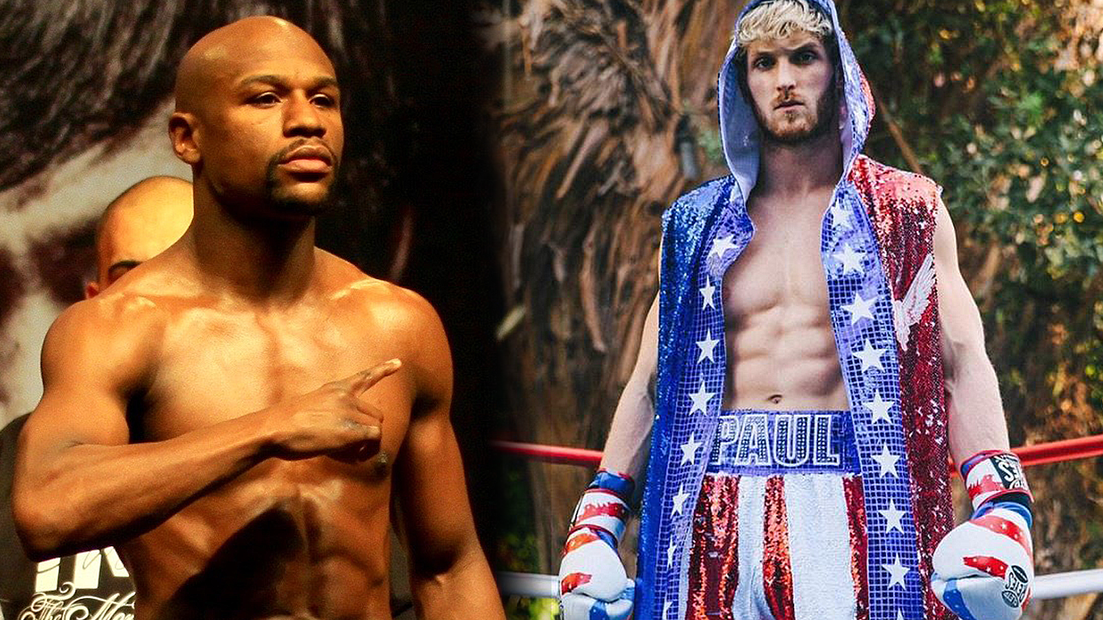 Floyd Mayweather and Logan Paul stand side by side in boxing gear.
