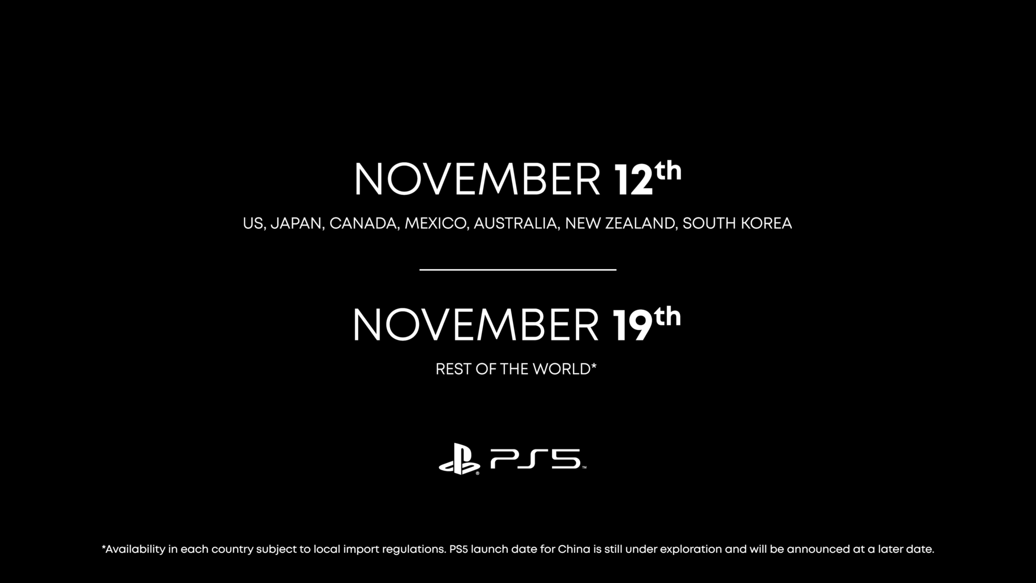 Sony PS5 launching in November