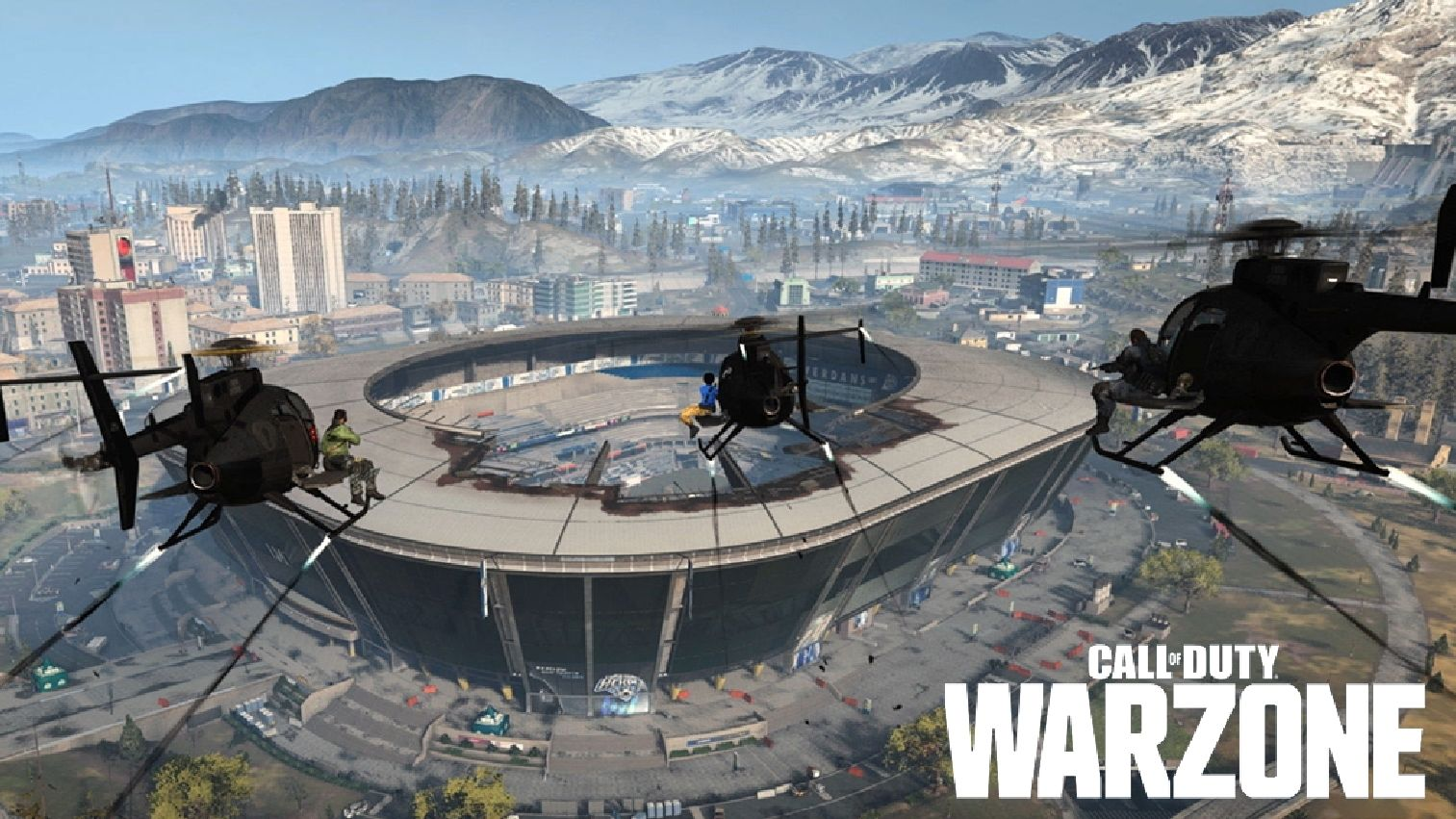 Warzone helicopters at stadium