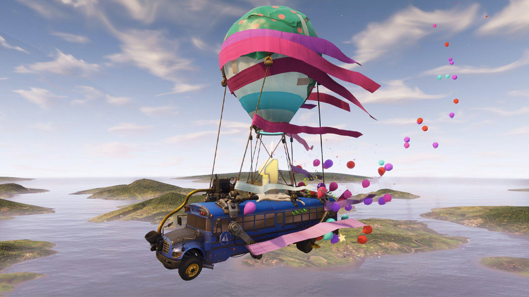 Fortnite bus with birthday skins