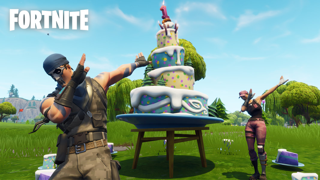 Fortnite players dabbing by a birthday cake