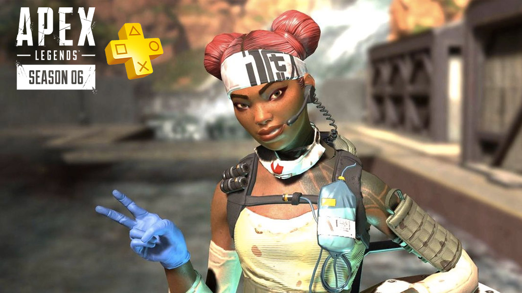 Lifeline from Apex Legends with the PS Plus logo