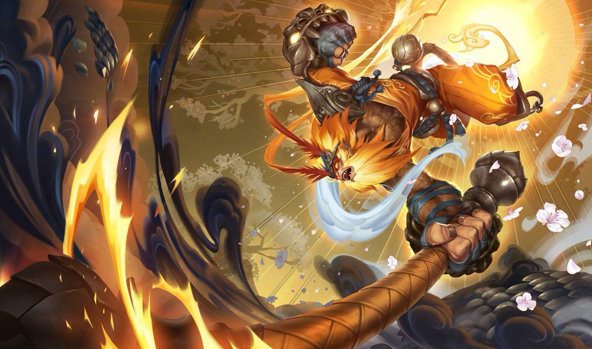 Wukong's radian skin splash art in League of legends