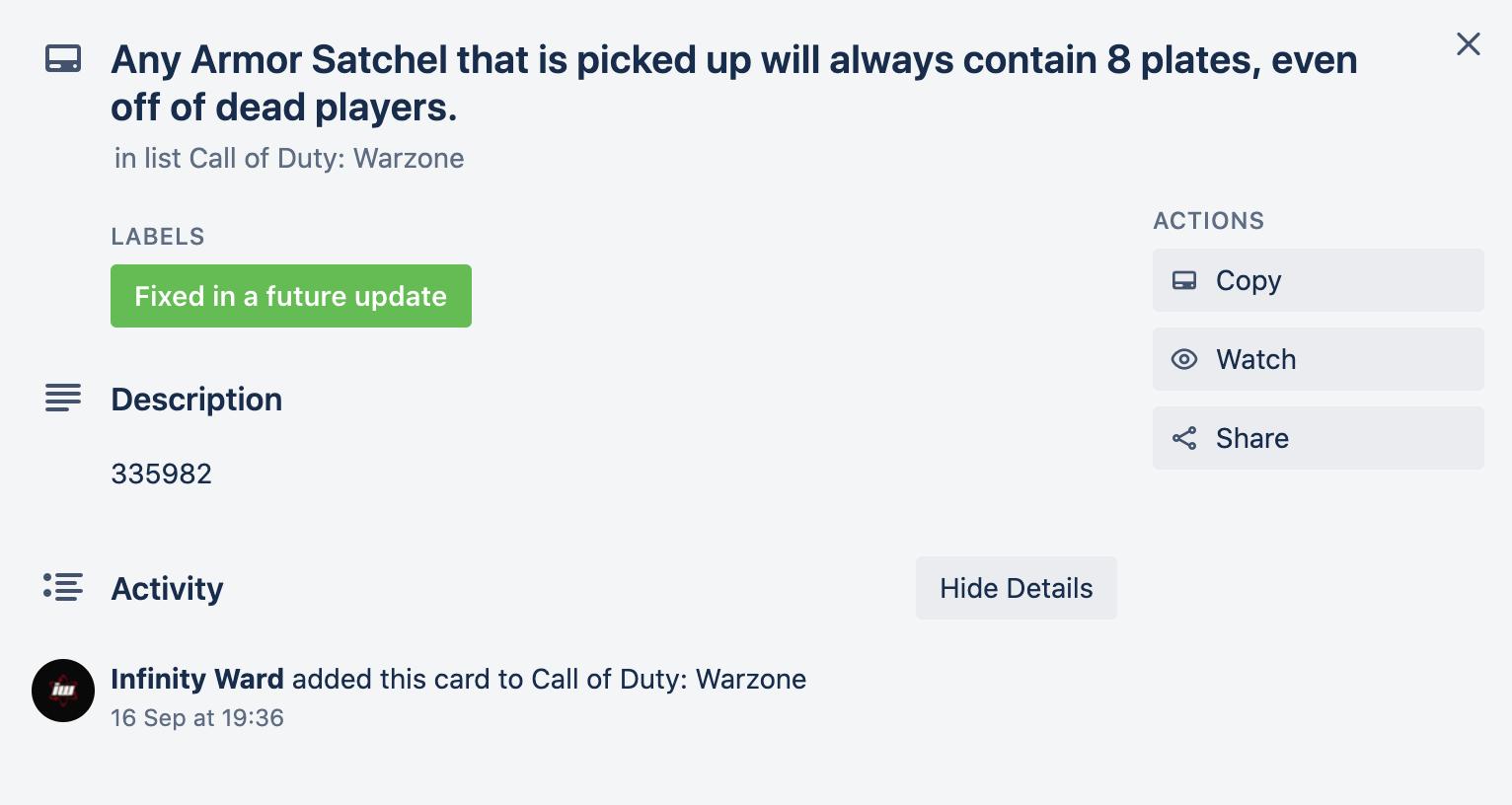 Warzone bug fix on Infinity Ward's Trello board