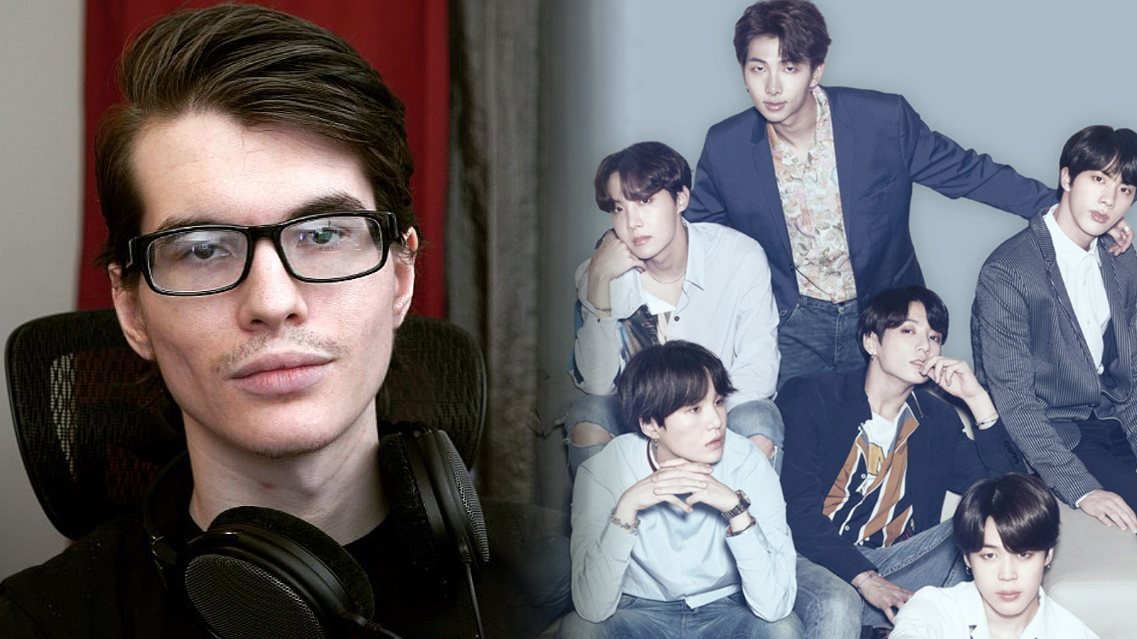 A photo of Froste positioned next to a group photo of the BTS members.