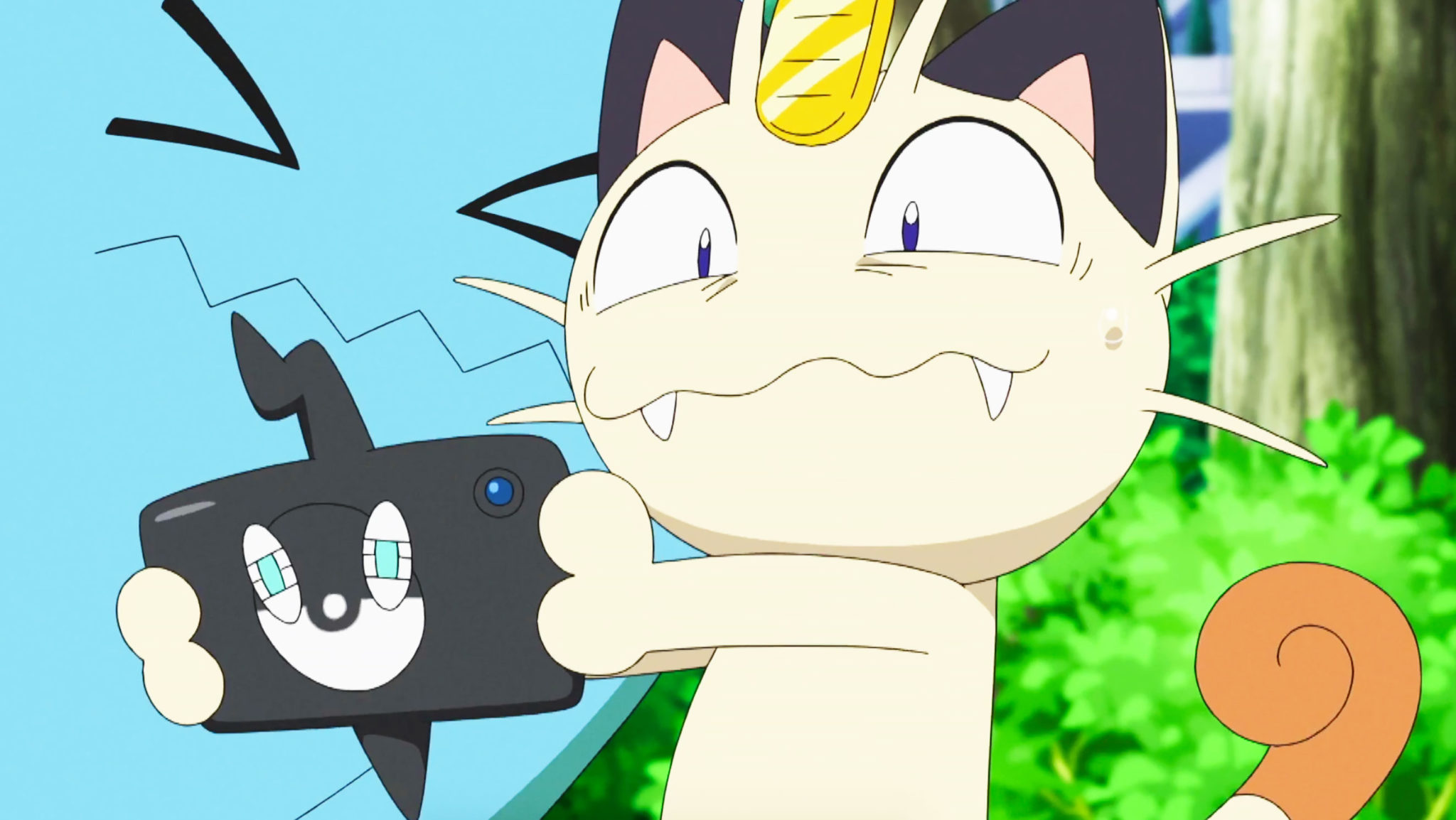 meowth holding rotom phone in pokemon anime