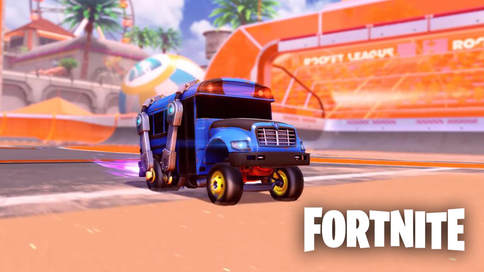Fortnite battle bus in Rocket League