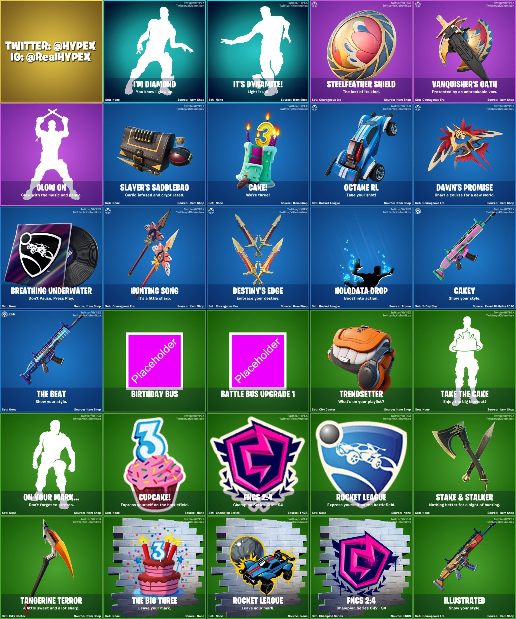 all leaked cosmetics for fortnite 14.20 update