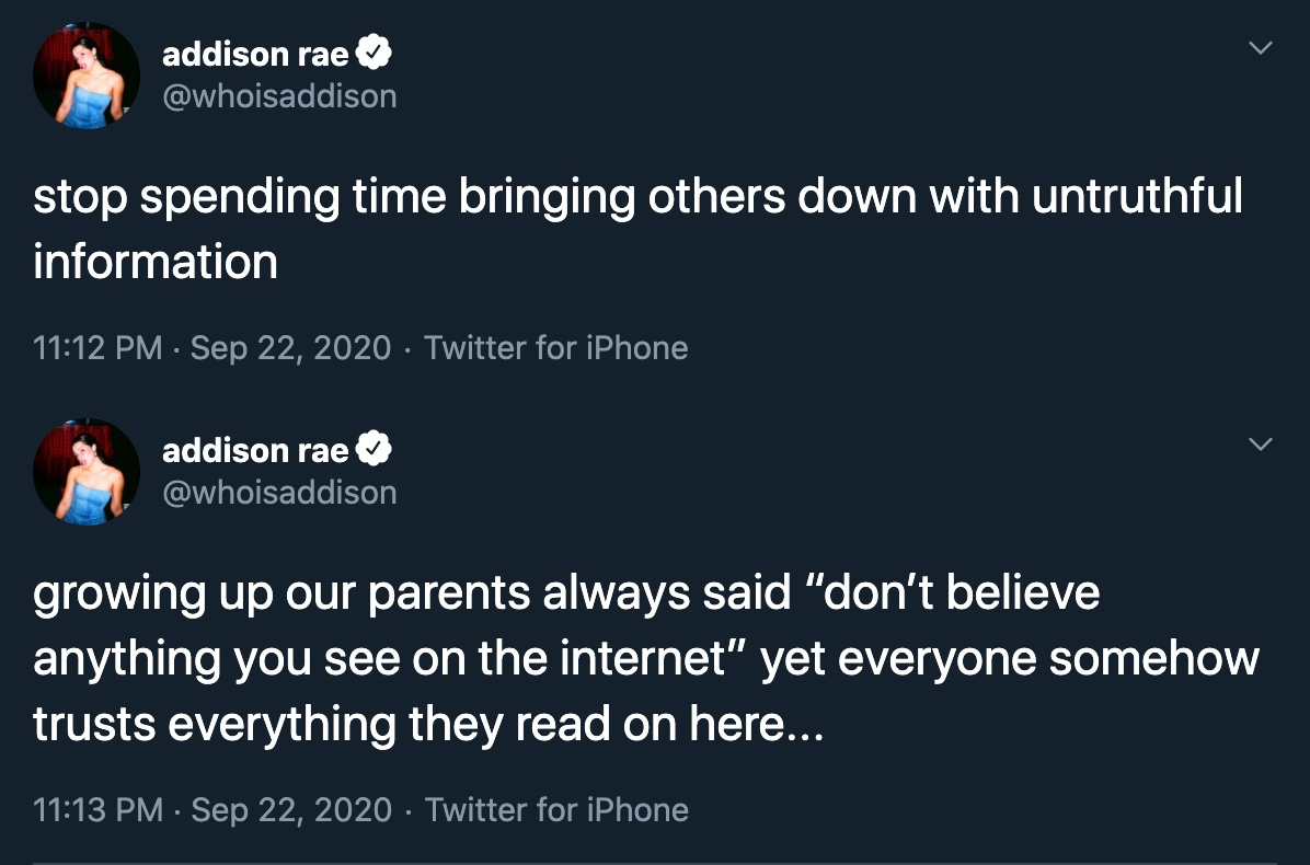 Addison rae tweets about people spreading lies