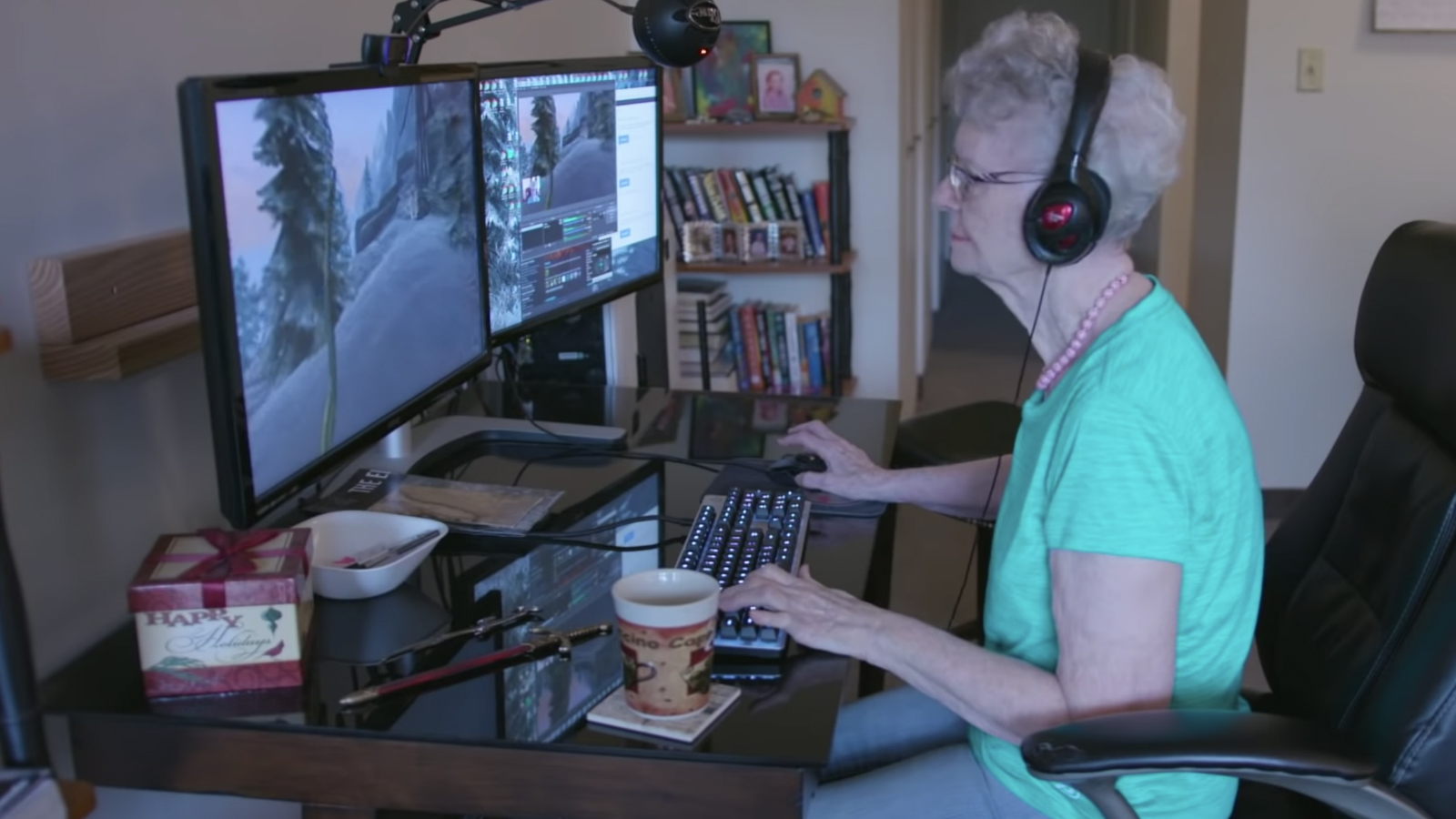 Grandma playing Skyrim