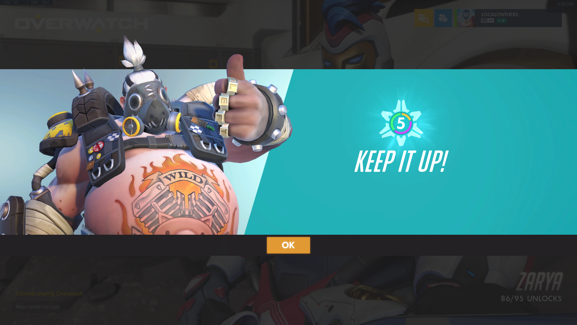 Roadhog thumbs up with Overwatch endorsement system