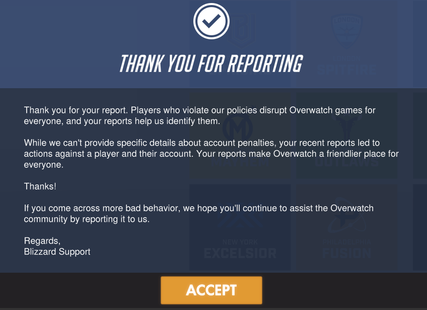 Overwatch report message