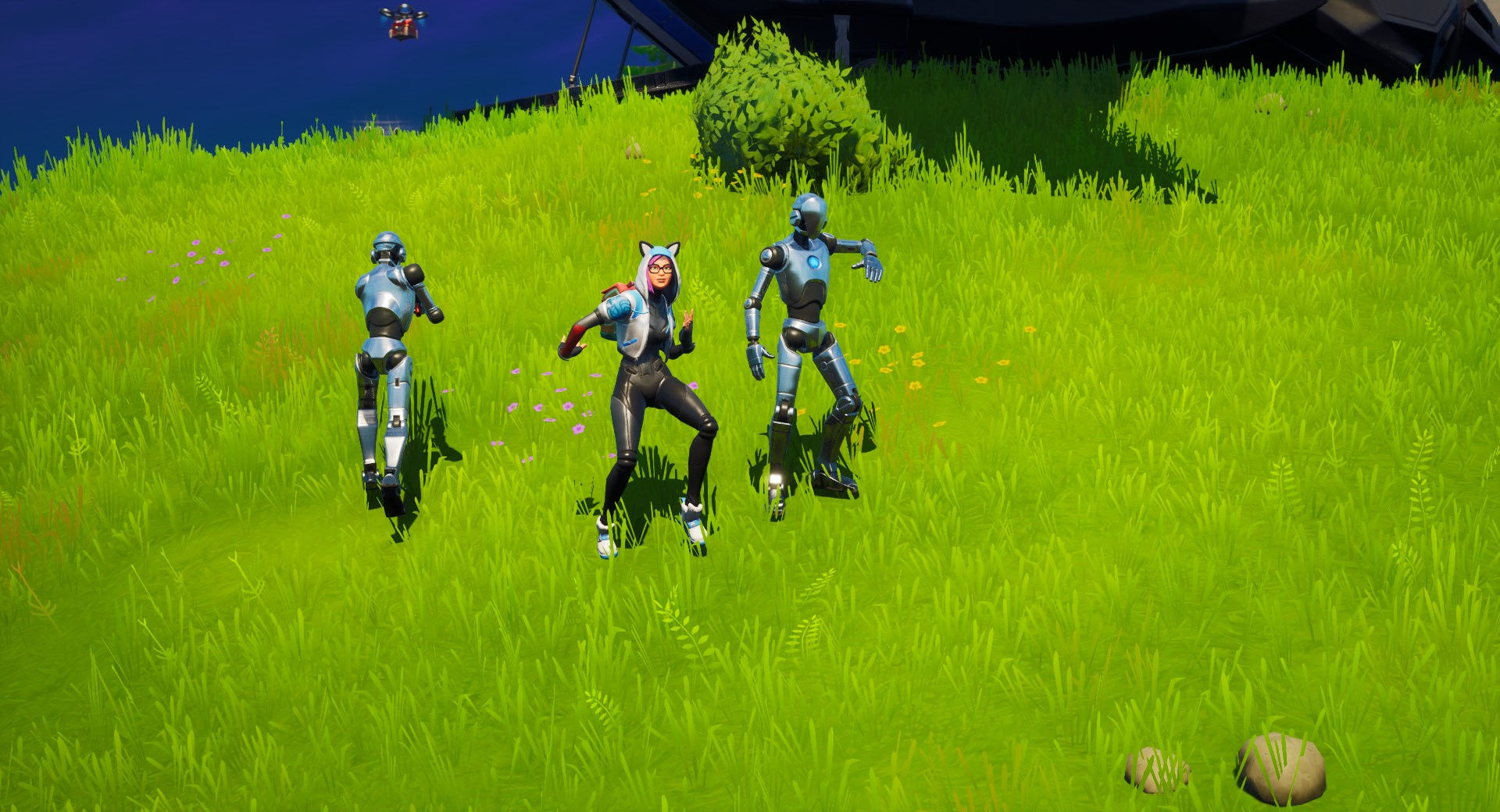 Fortnite character dancing with a Stark Robot
