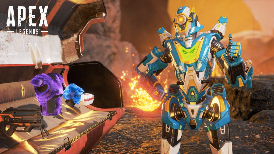 Apex Legends' Pathfinder with an open loot bin