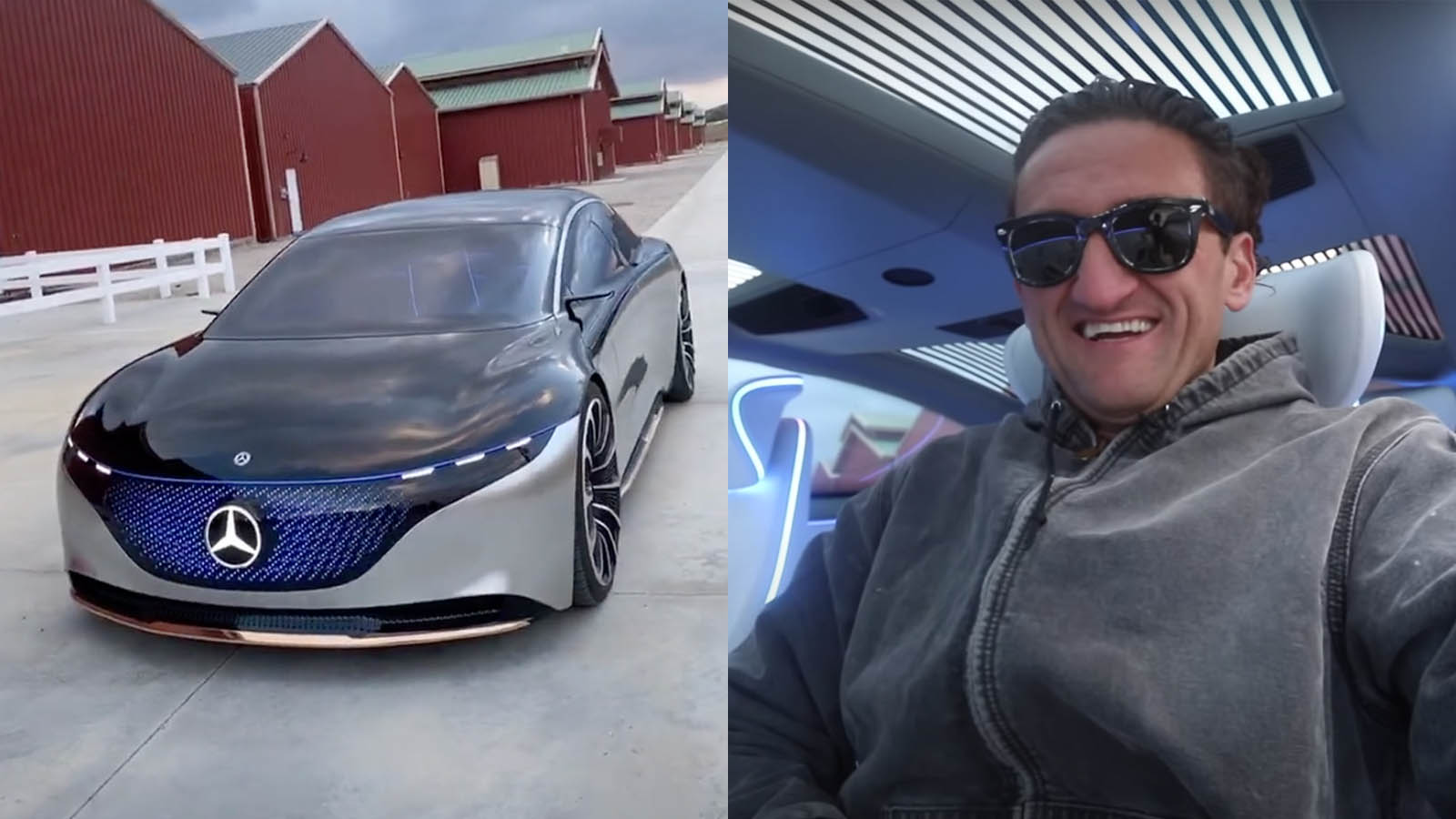 Casey Neistat with Mercedes EQS