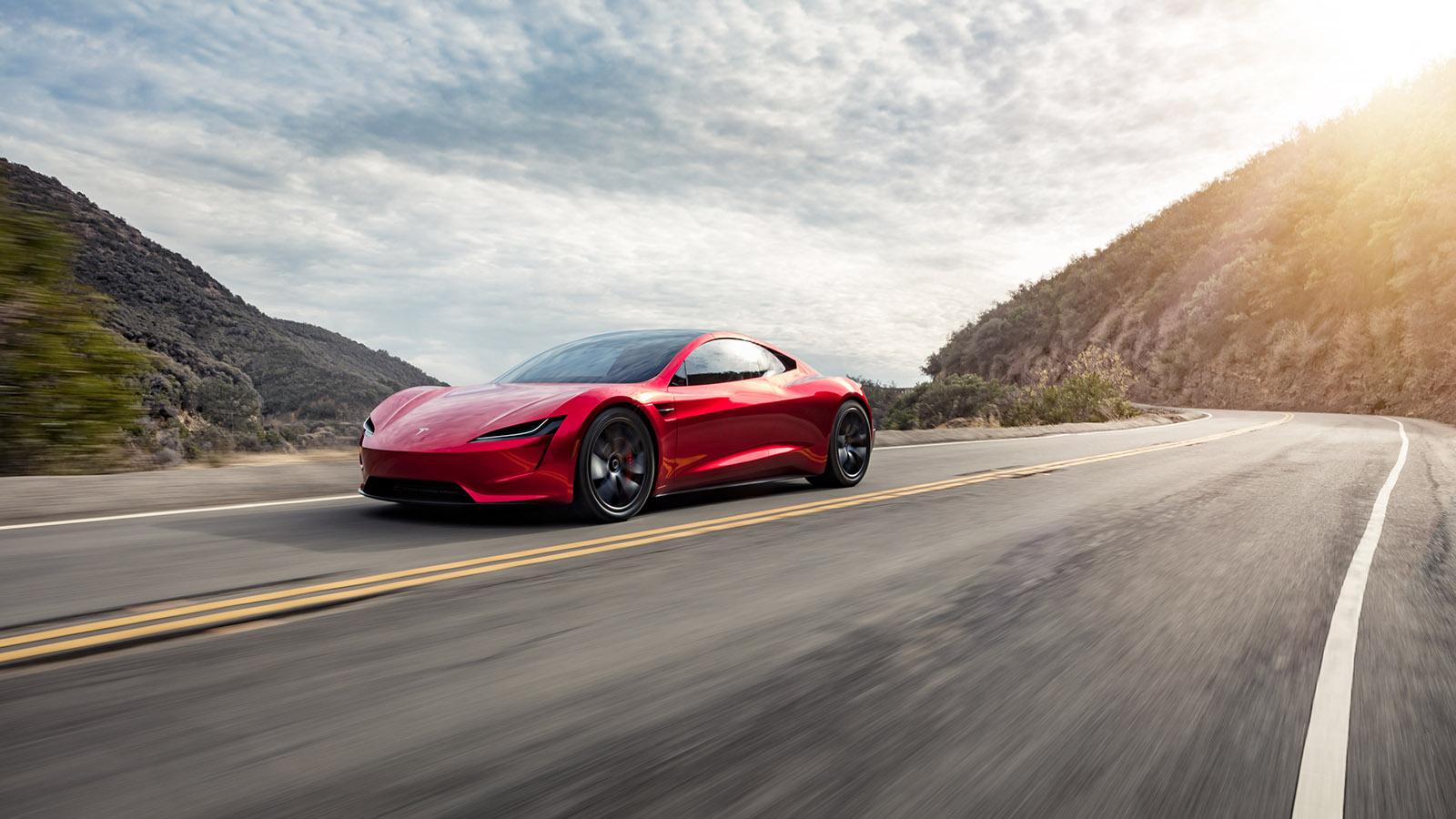 Tesla Roadster on Road