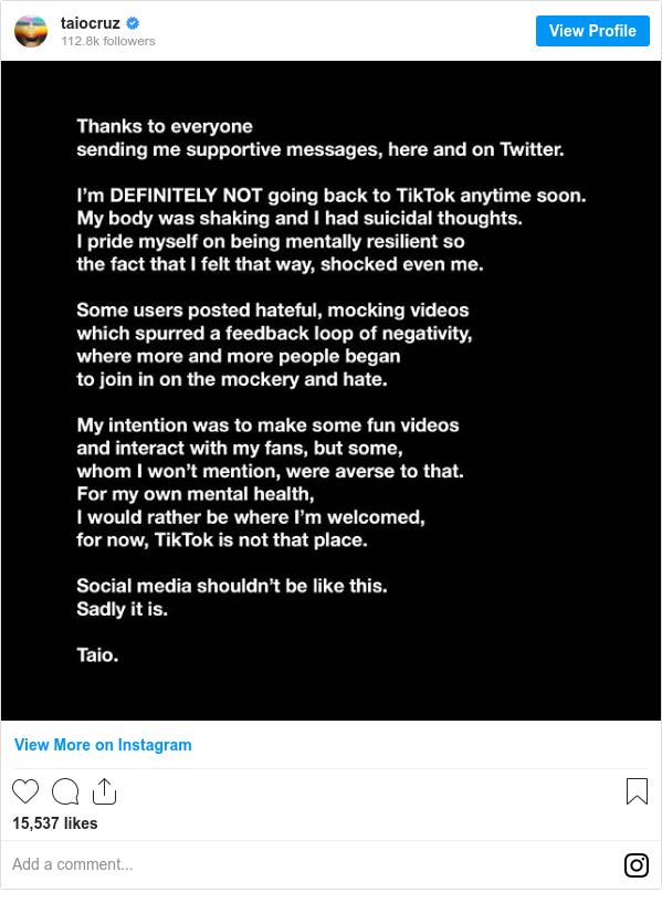 Taio Cruz elaborates on why he quit TikTok.