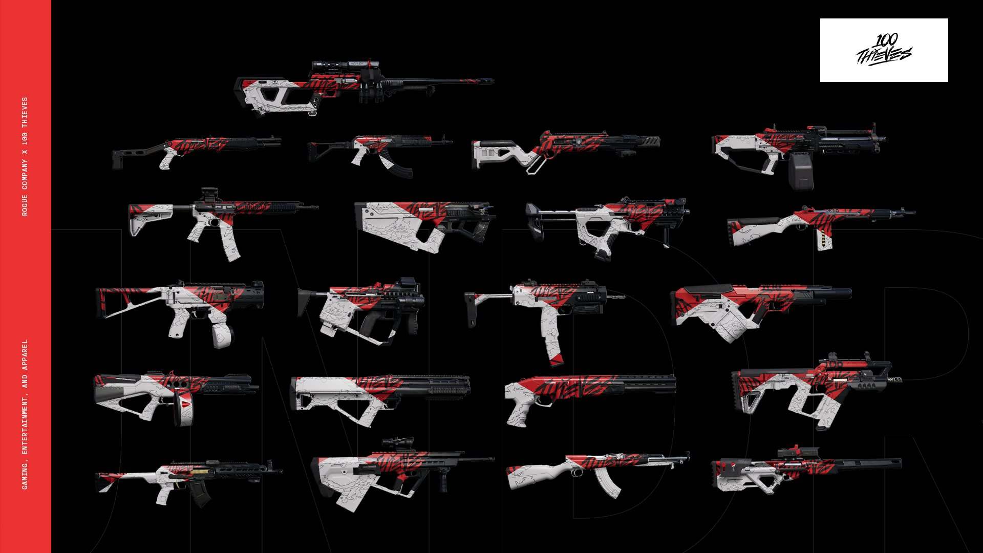 100 Thieves Rogue Company Weapon skins