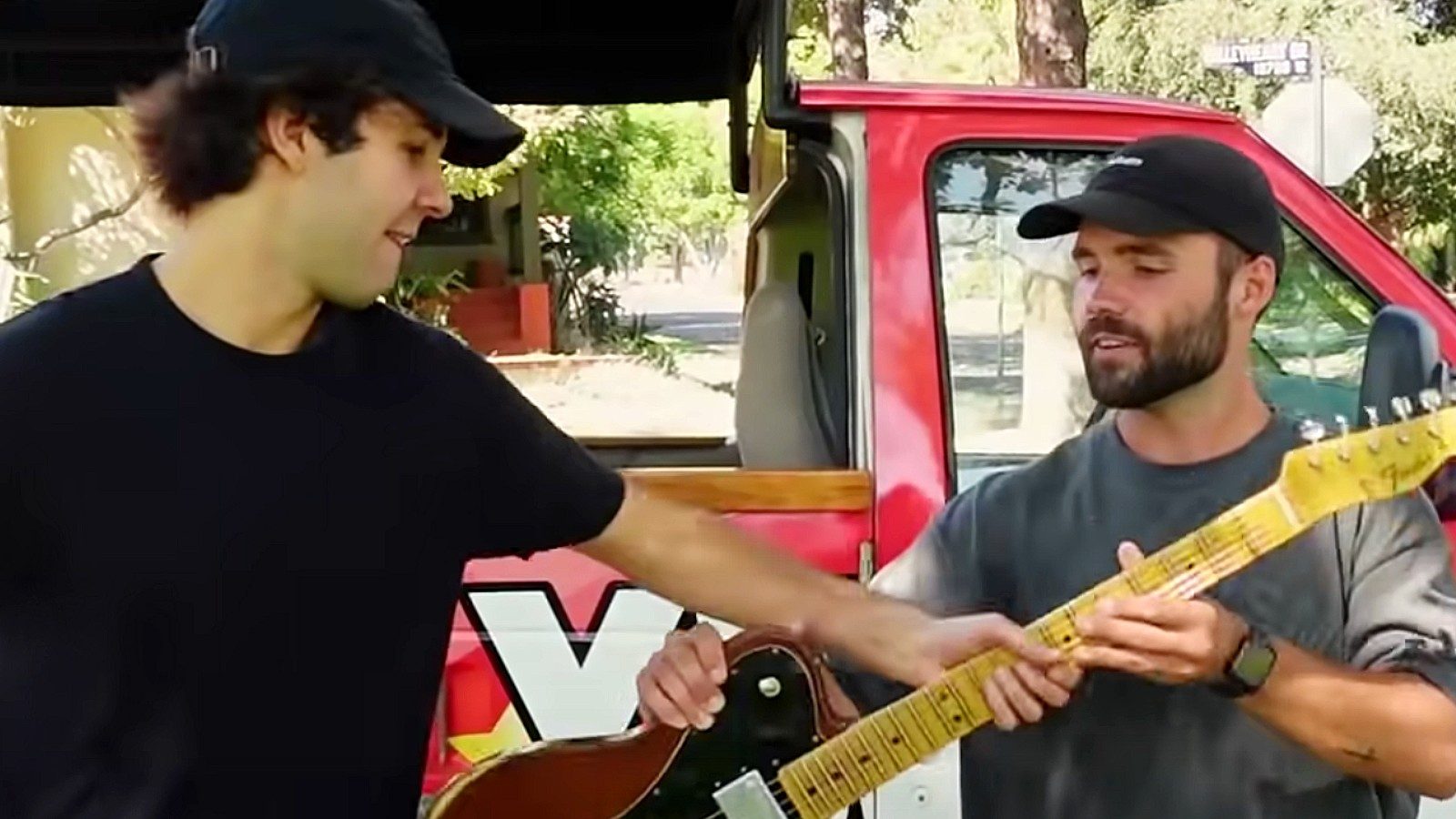 David Dobrik trades car for guitar with swapping YouTuber