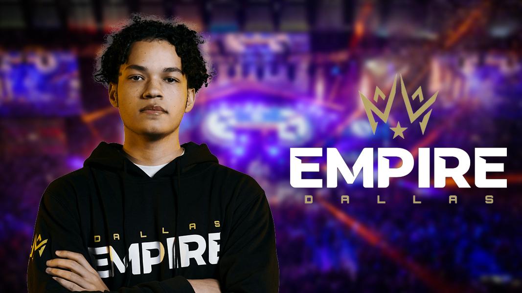 Huke next to Dallas Empire logo