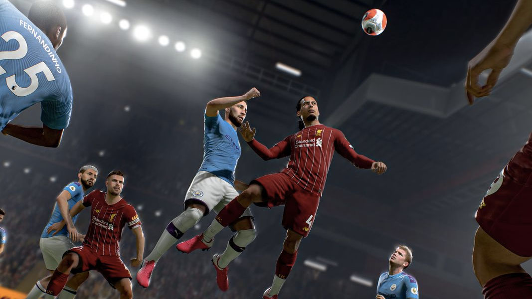FIFA players battling for a header