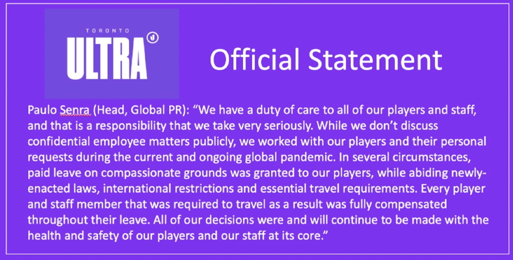 Statement from Toronto Ultra