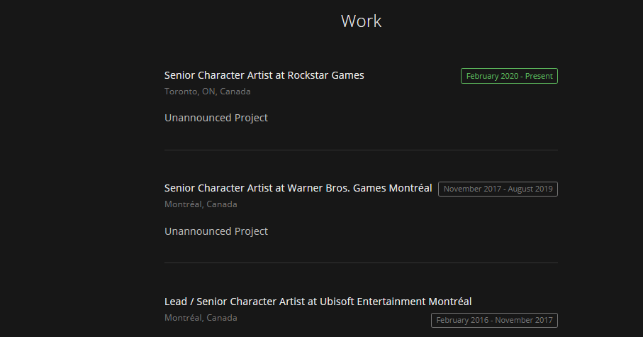 Rockstar employee on ArtStation