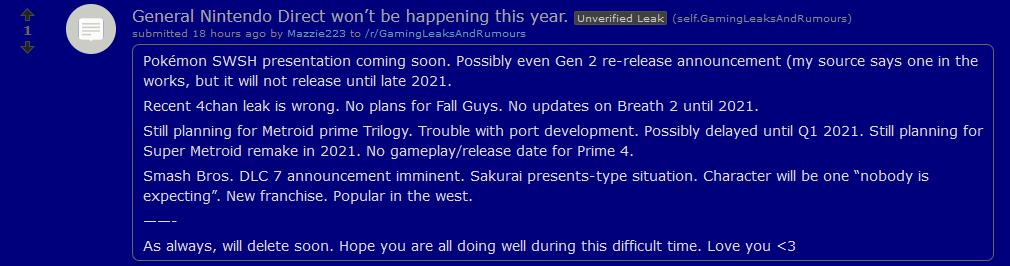 Smash Ultimate Reddit leak