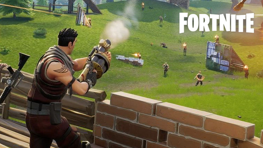 Fortnite character shooting the grenade launcher