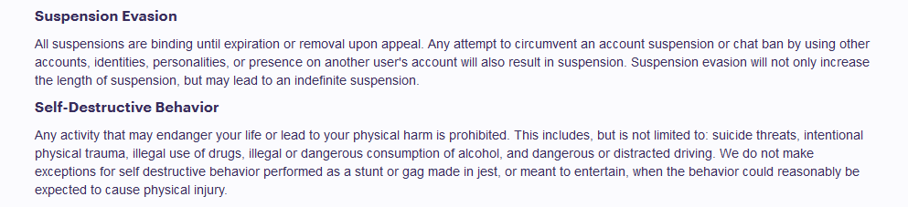 Twitch's previous community guidelines