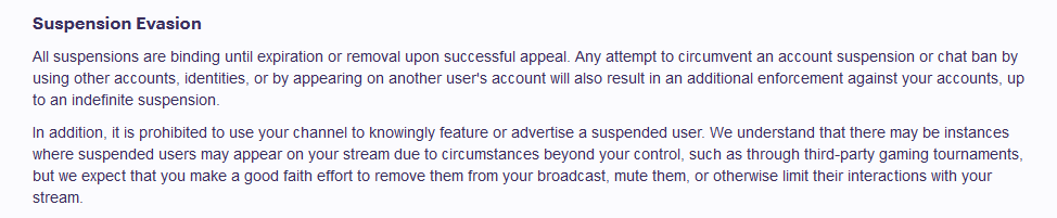 Twitch's newest rules on banned streamers