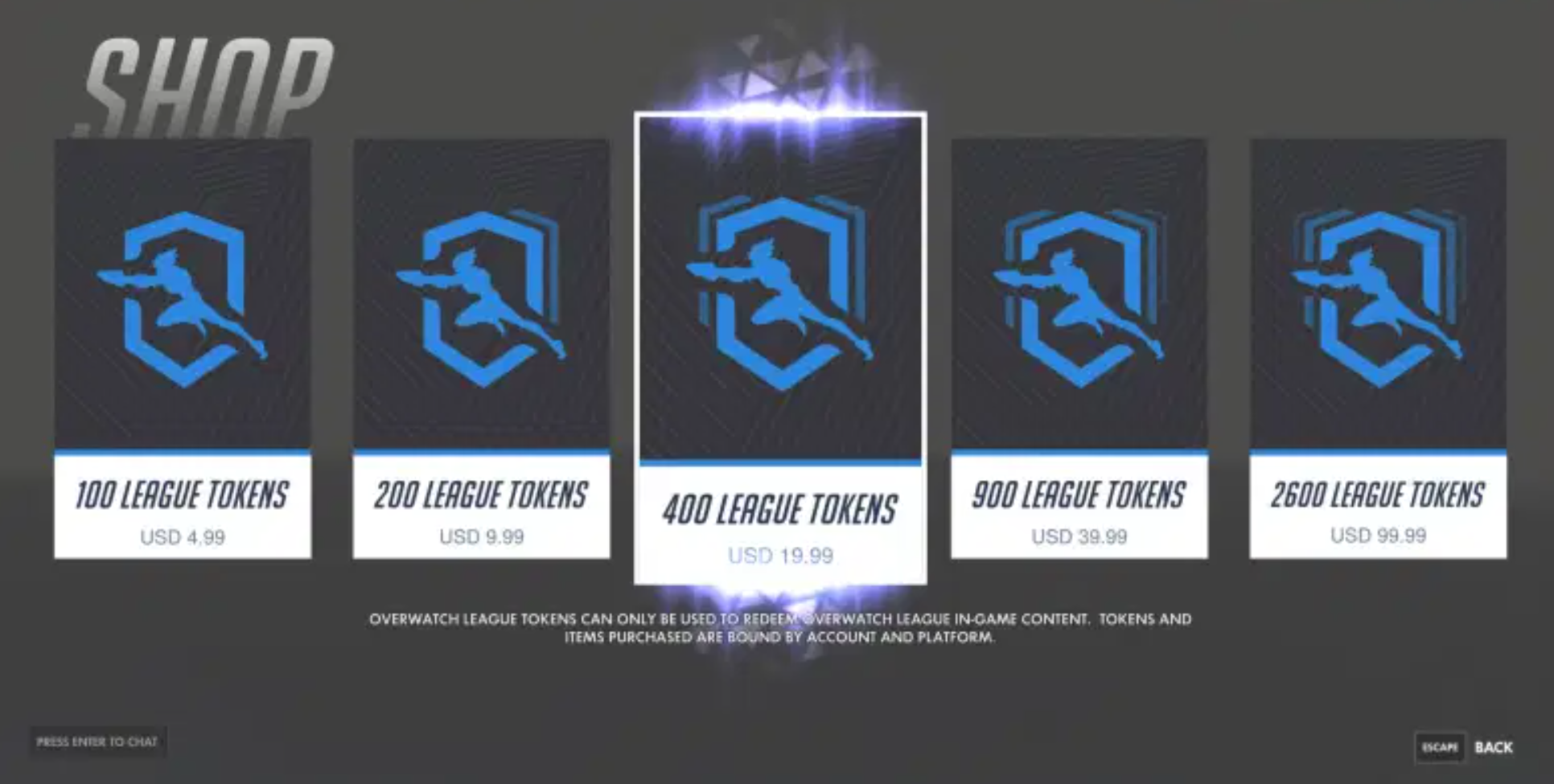 Overwatch league tokens