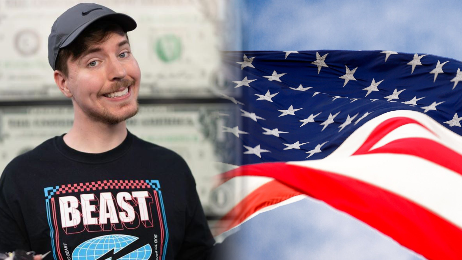 Mr Beast poses next to the American flag.