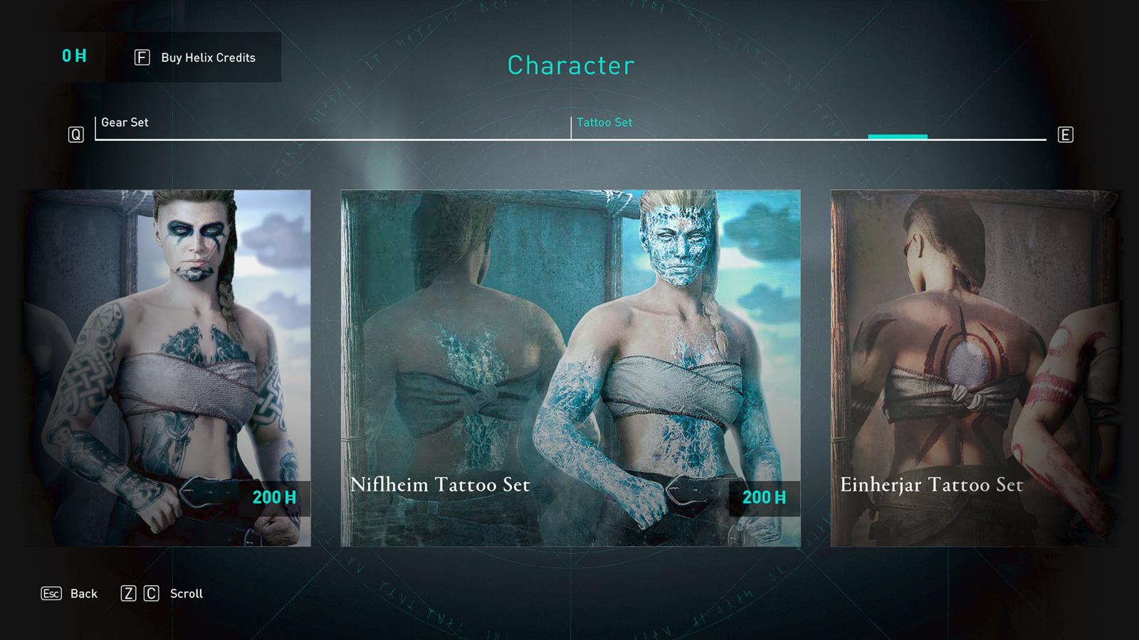 Niflheim Tattoo Set in Assassin's Creed Valhalla store