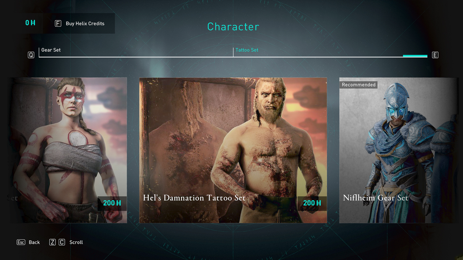 He's Damnation Tattoo Set in Assassin's Creed Valhalla store