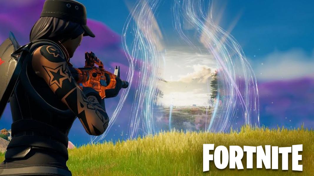 Fortnite character looking at walking dead portal