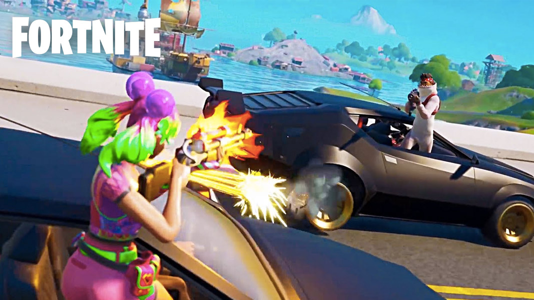 Fortnite skins shooting out of cars