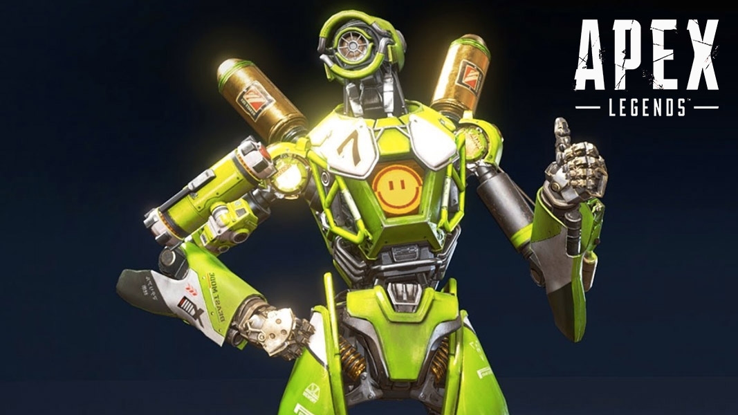 Pathfinder in a green skin with a thumbs up in Apex Legends