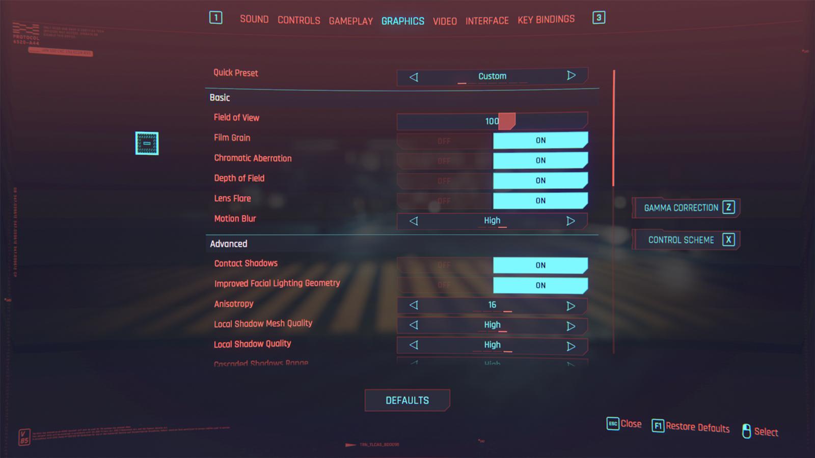 The Better FOV Slider mod menu showcased in Cyberpunk 2077