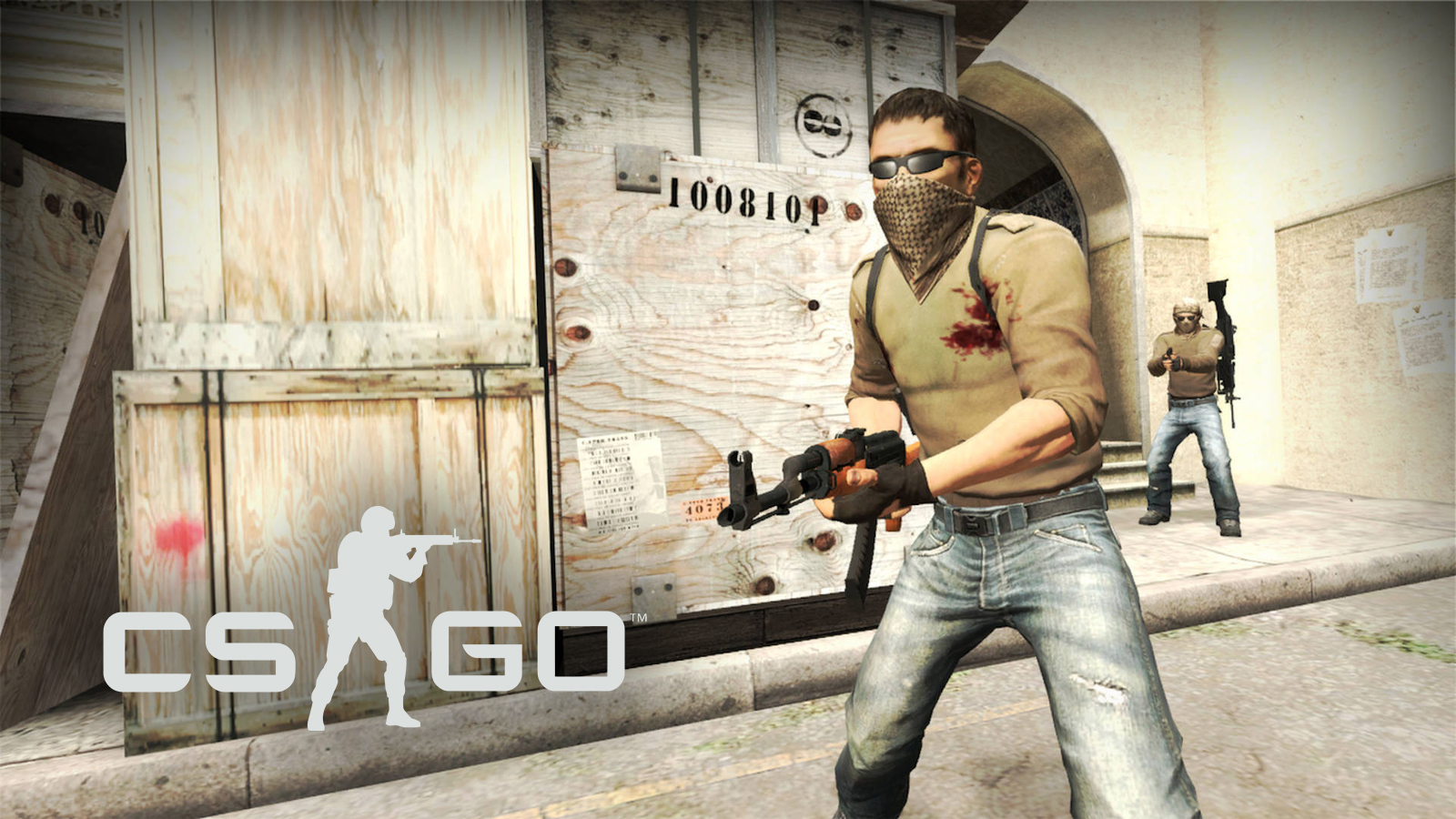 CSGO terrorist holding AK47 on Dust 2