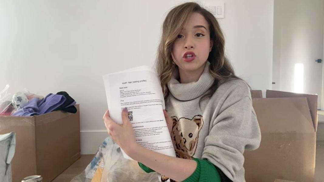 Poki holding up a viewer's 'boyfriend resume'