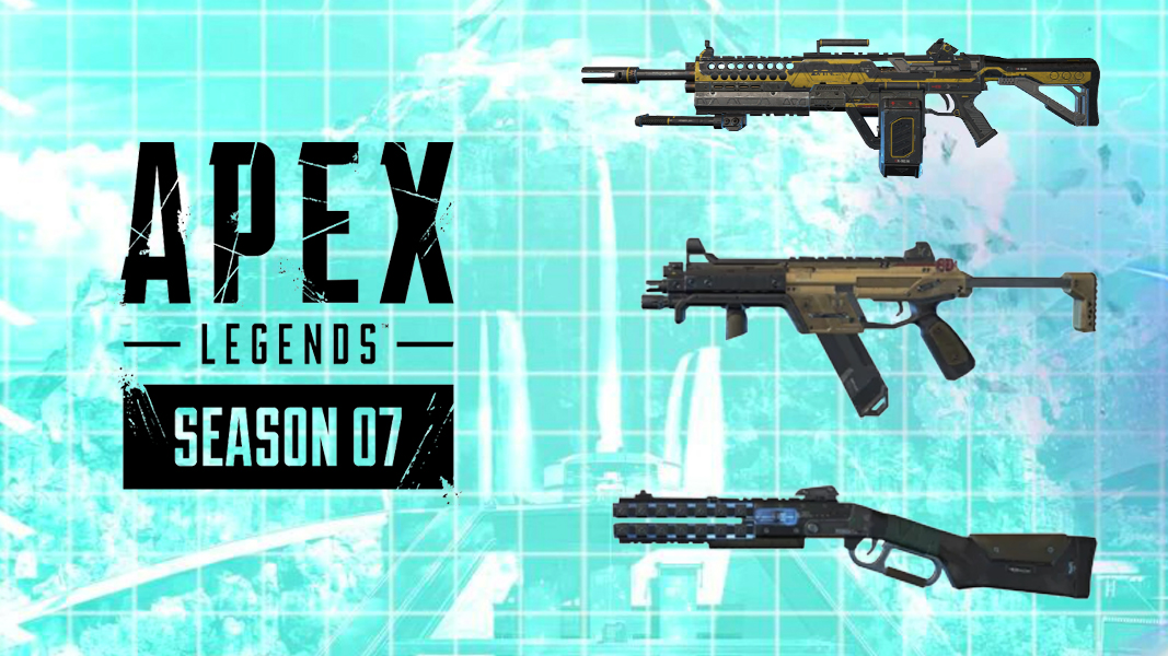 Apex Legends weapons on light blue Apex background