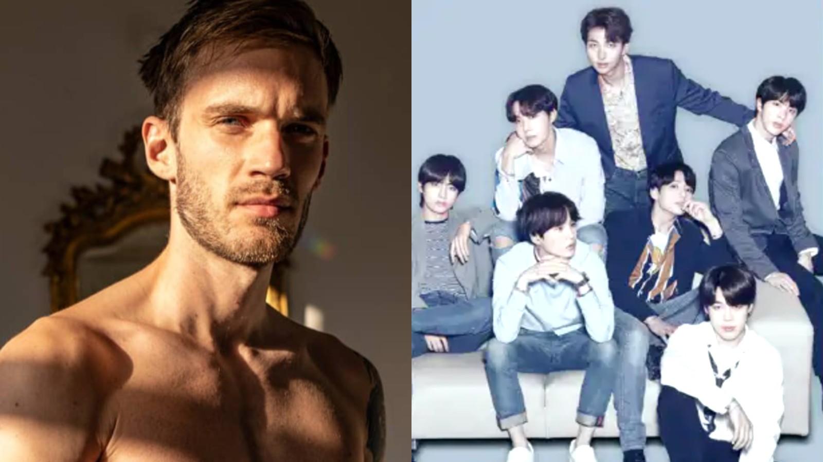 Image of Pewdiepie next to image of BTS