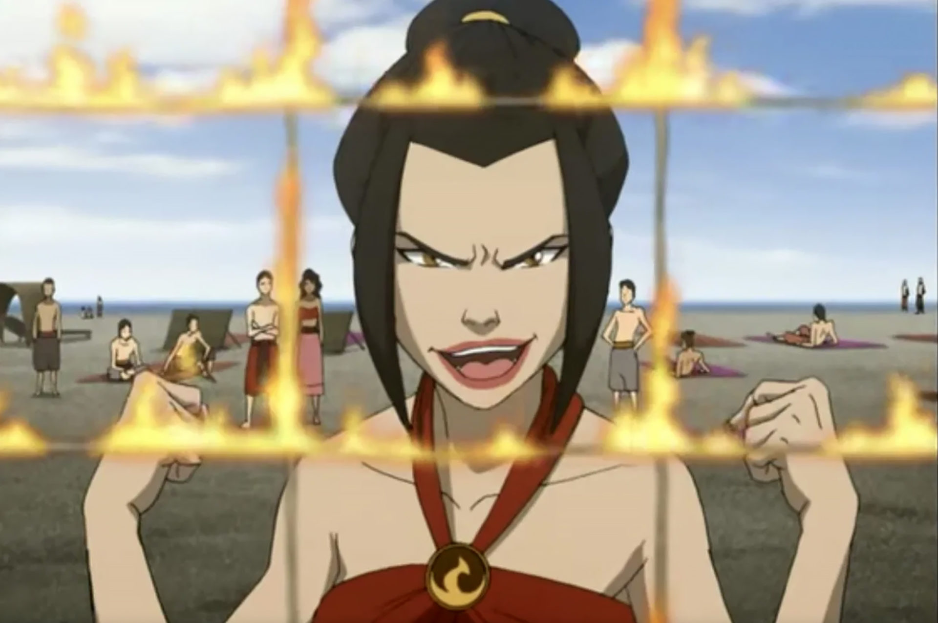 Screenshot of Avatar: The Last Airbender villain Azula burning volleyball net in Season 3.