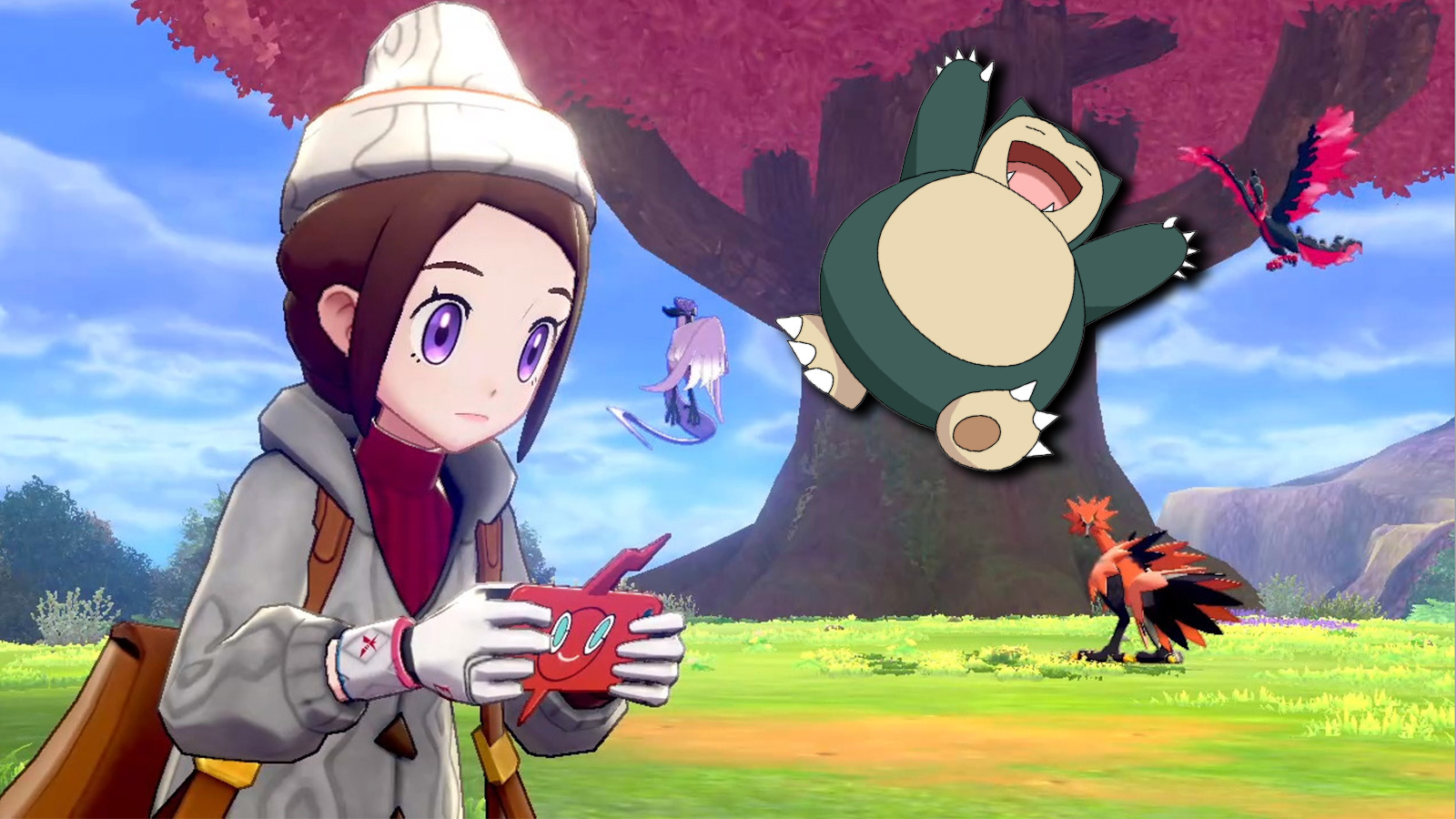 Screenshot from Pokemon Sword & Shield Crown Tundra with Flying Snorlax.