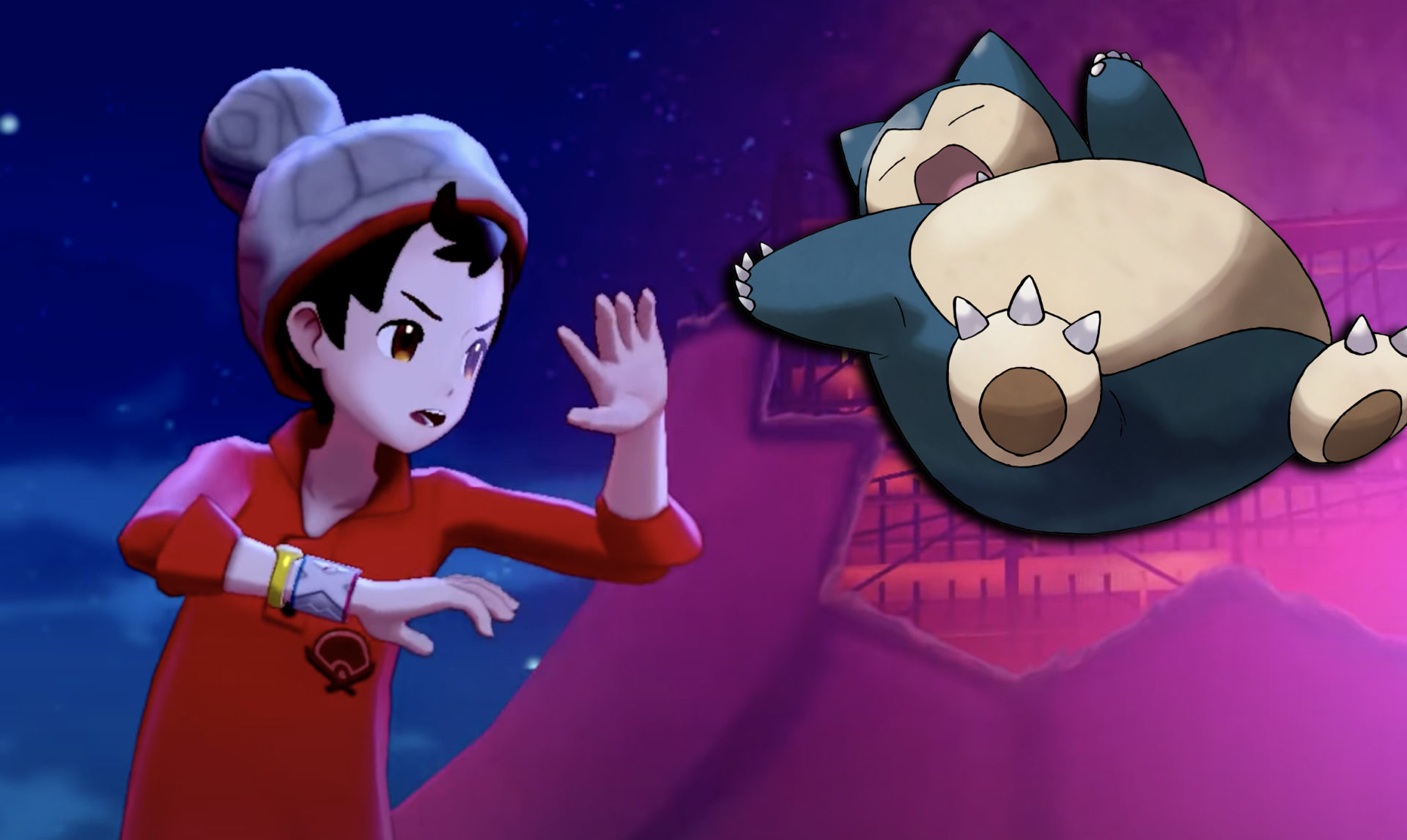 Screenshot from Pokemon Sword & Shield with flying Snorlax.