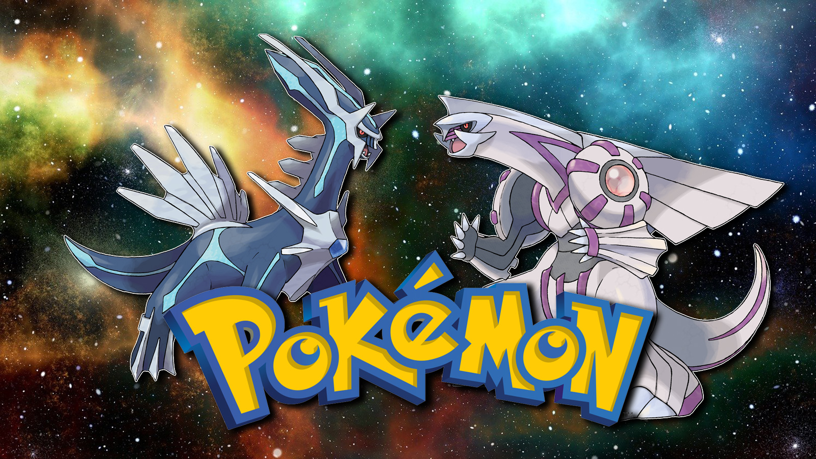 Screenshot of Diamond & Pearl Pokemon Dialga and Palkia over space galaxy background.