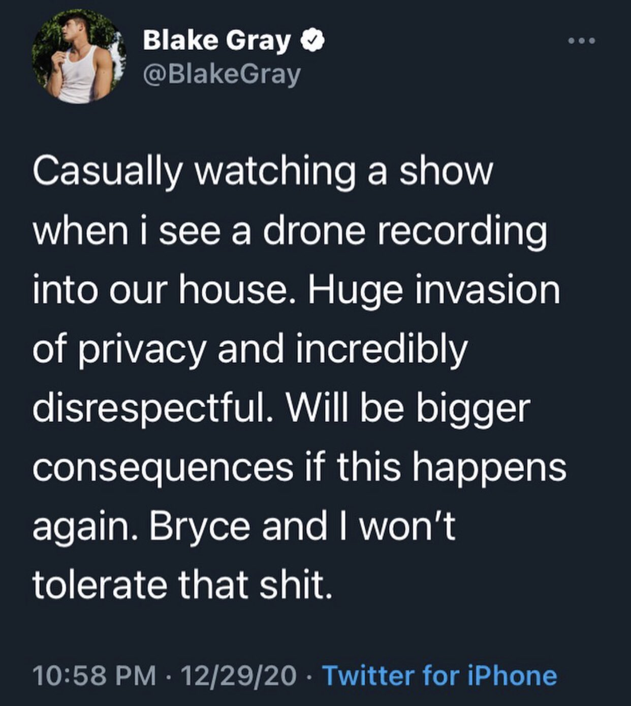 Blake Gray reveals drone was recording the sway house.