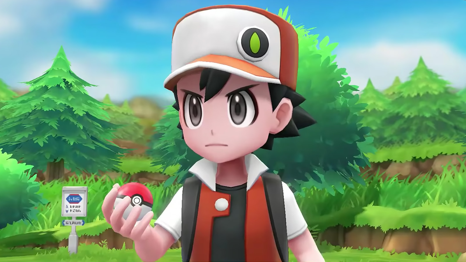 Screenshot of trainer Red from Pokemon Let's Go Eevee & Pikachu.